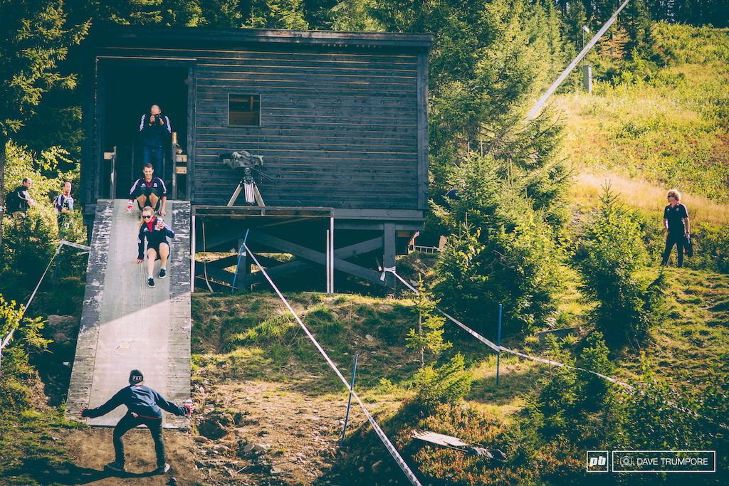 Tahnee Seagrave shows you just how steep the start ramp is.