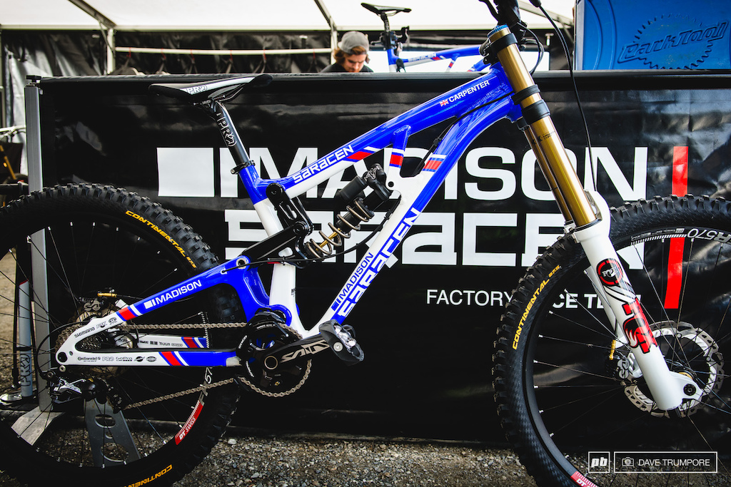 The red white and blue of the Union Jack covers newly crowned WC CHamp Manon Carpenter s new bike.