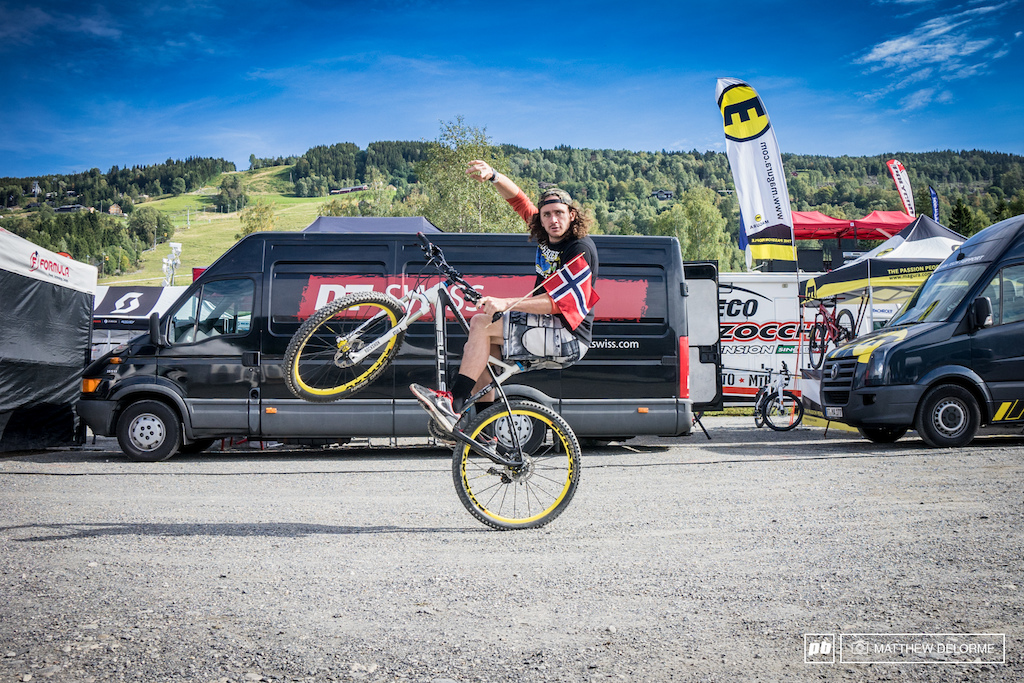 It s Wheelie Wednesday and Wyn Masters is flying the Norwegian flag for the occasion.
