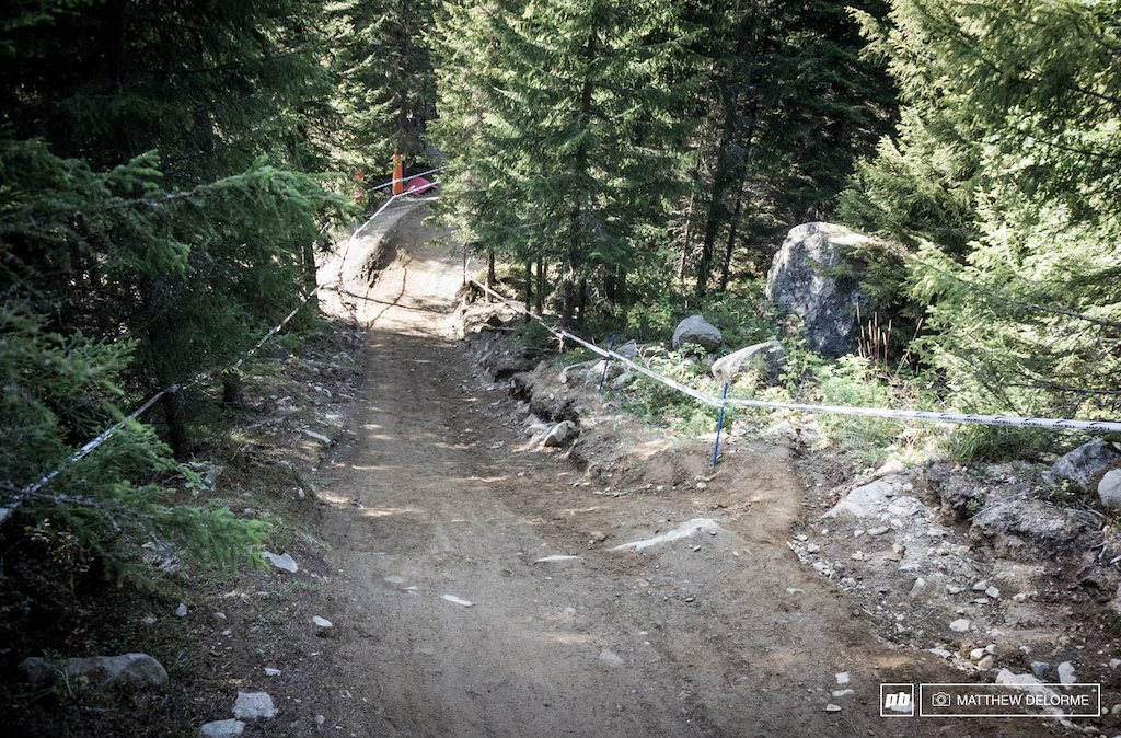 This section was washed out with torrential rains early this summer resembling a miniature Grand Canyon. The Hafjell trail crew put in a considerable amount of work.