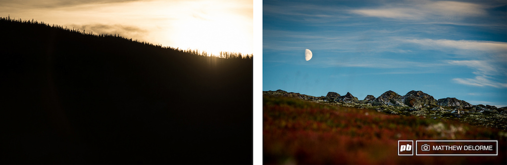 Setting sun on one ridge and the moon rising behind another. Norway has some amazing landscapes.