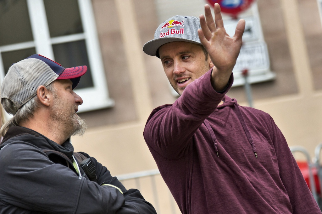 Track designer Aaron Chase (right) seen during the track building of Red Bull District Ride in Nuernberg, Germany on September 2nd 2014 // Daniel Grund/Red Bull Content Pool // P-20140902-00265 // Usage for editorial use only // Please go to www.redbullcontentpool.com for further information. //