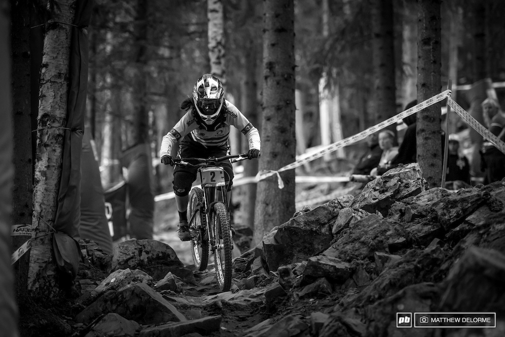 Tegan Molloy powering through the last technical section in seeding today. Molloy seeded third.