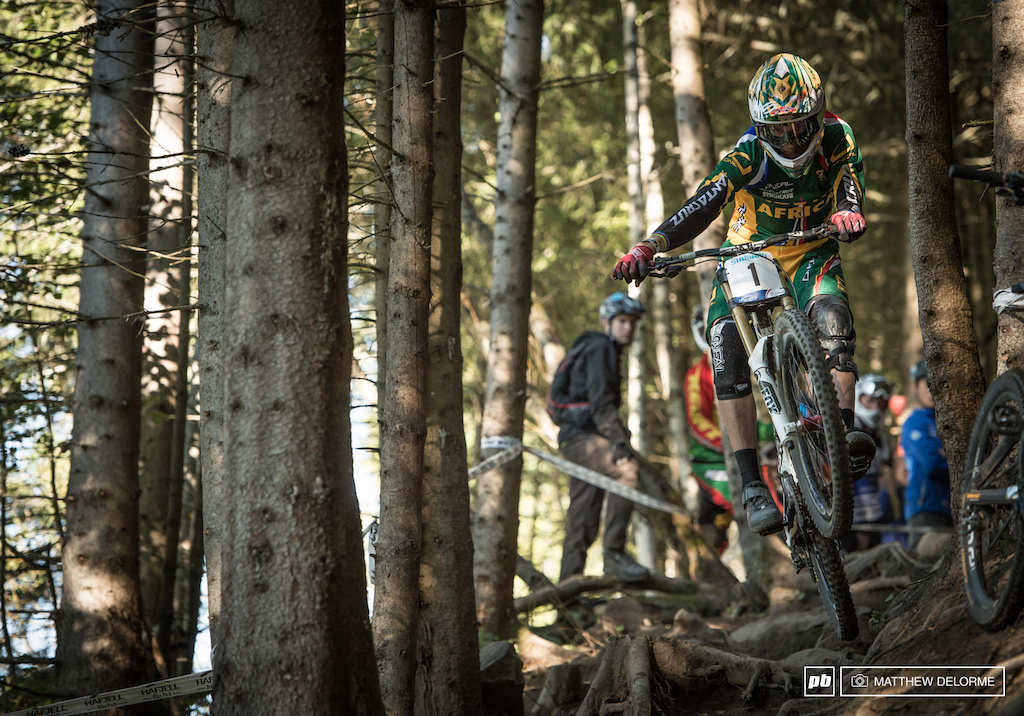 It took a couple tries but Greg Minnaar hit the high line perfectly by the end of the day. Few have hit it consitently.