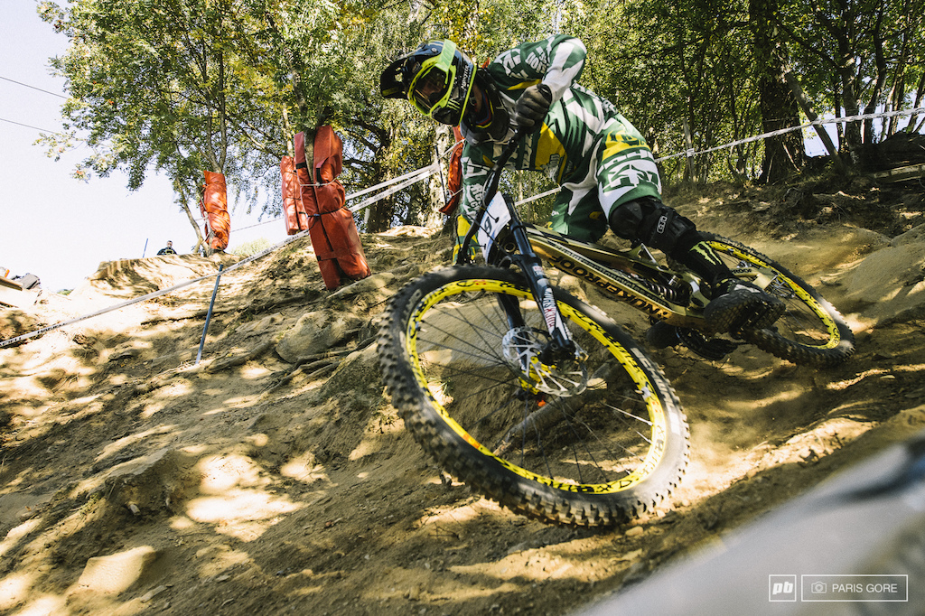 Sam Hill taking the outside line while most others went a bit more inside over the rocks.