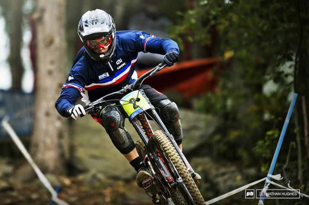 Loris Vergier... lovely kid but sadly very sick in the head. Recently diagnosed with a rare condition that sees him turn into a merciless and clearly very disturbed individual when on a mountain bike. Can anyone catch up the 3.5 seconds plus whatever else he manages to axe on Sunday