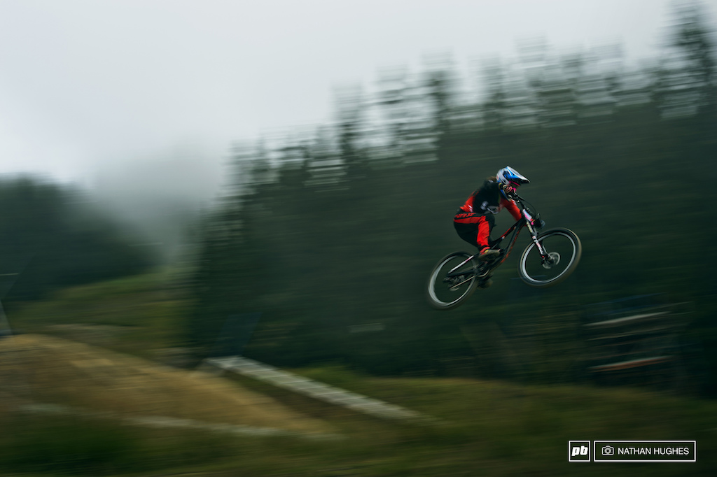 The lady part of the formidable Lapierre foursome hitting warp in the mist.
