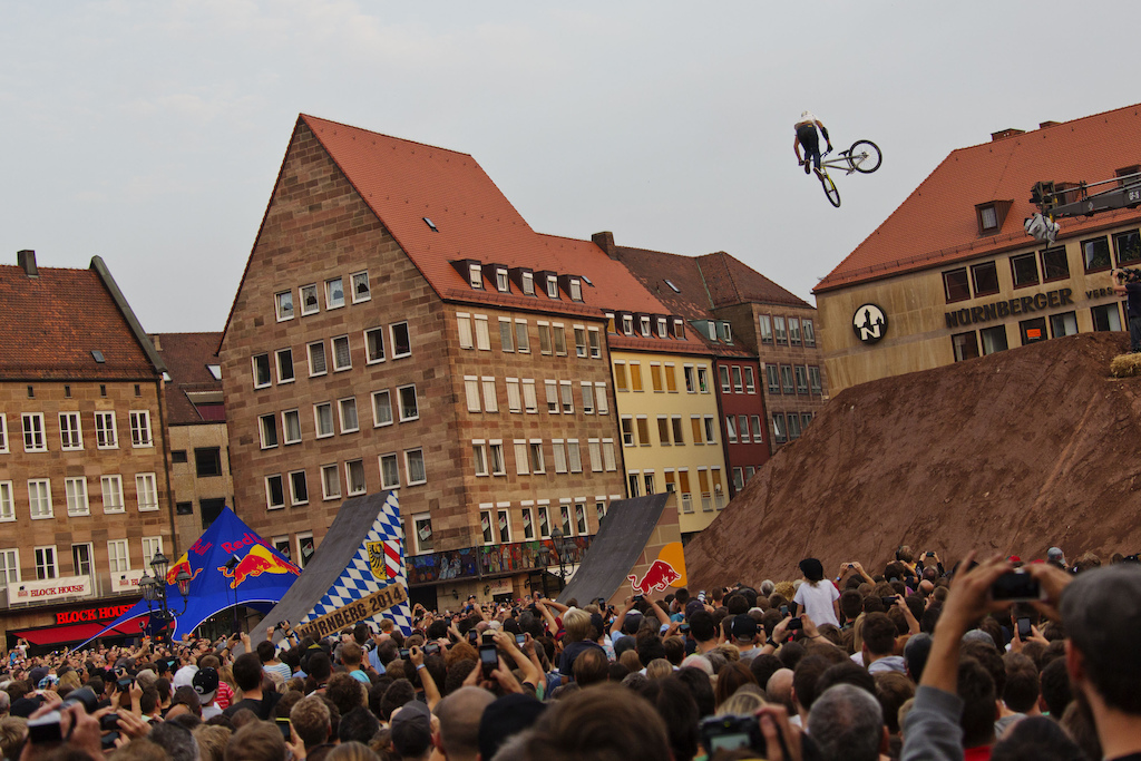 Lukas Knopf of Germany perfoms during the Telekom Best Trick Contest  at the Red Bull District Ride 2014 in Nuernberg Germany  on Friday September 5th 2014 // Daniel Grund/Red Bull Content Pool // P-20140906-00011 // Usage for editorial use only // Please go to www.redbullcontentpool.com for further information. //