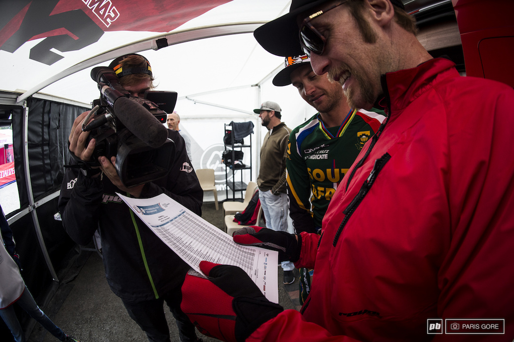 Steve Peat looking over the results from today with the fastest speed at nearly 80k. Old guys never slow down.