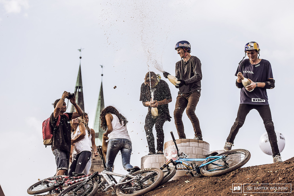 Spraying the joy all over the girls and enjoying the win of the biggest city slopestyle event of the year.