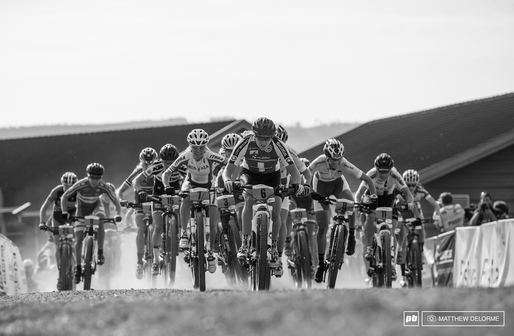 That rainbow  jersey in xc eliminator had fueled a fire in Kathrin Stirnemann, and she jumped off the start at mach chicken.