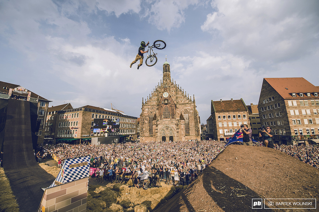 Nicholi was so motivated to pull his beloved triple tailwhip despite a grand slam on the 2nd run he went back on the top of the city hall just to please the crowd. Extra points for him.