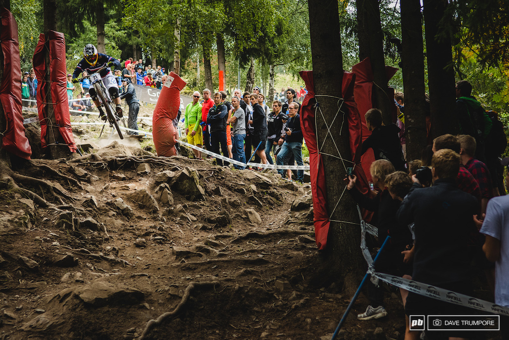 Remi Thirion was the first rider down to get the crowd excited by boosting into the rocks.