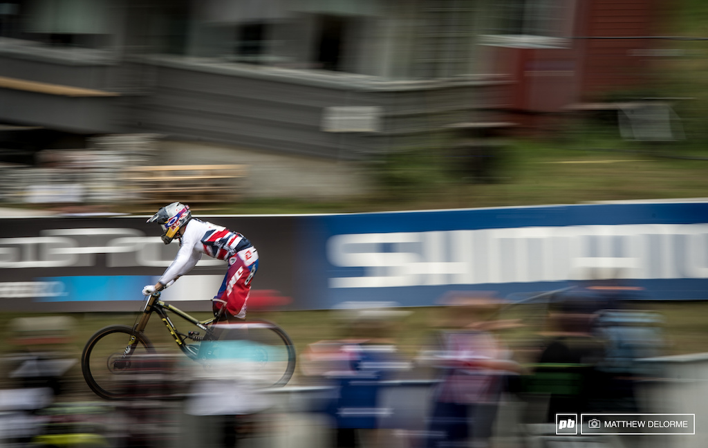 Gee Atherton may not have have the best World Cup season but on the one day where a win mattered most - he made it count.