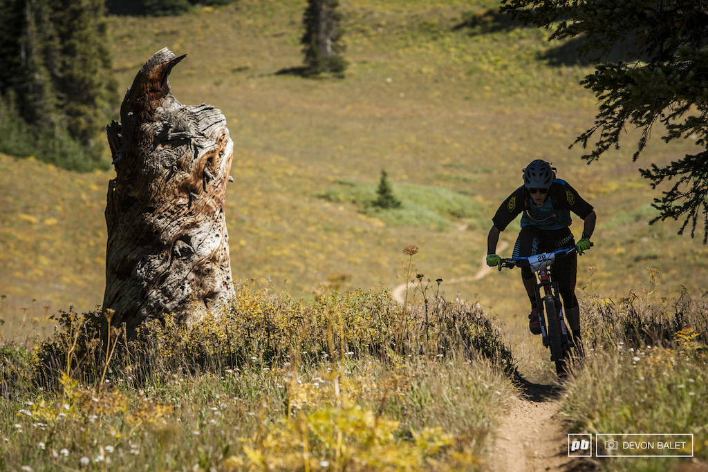 Colin Pickett puts in some pedal strokes on a flat section of Trail 400.