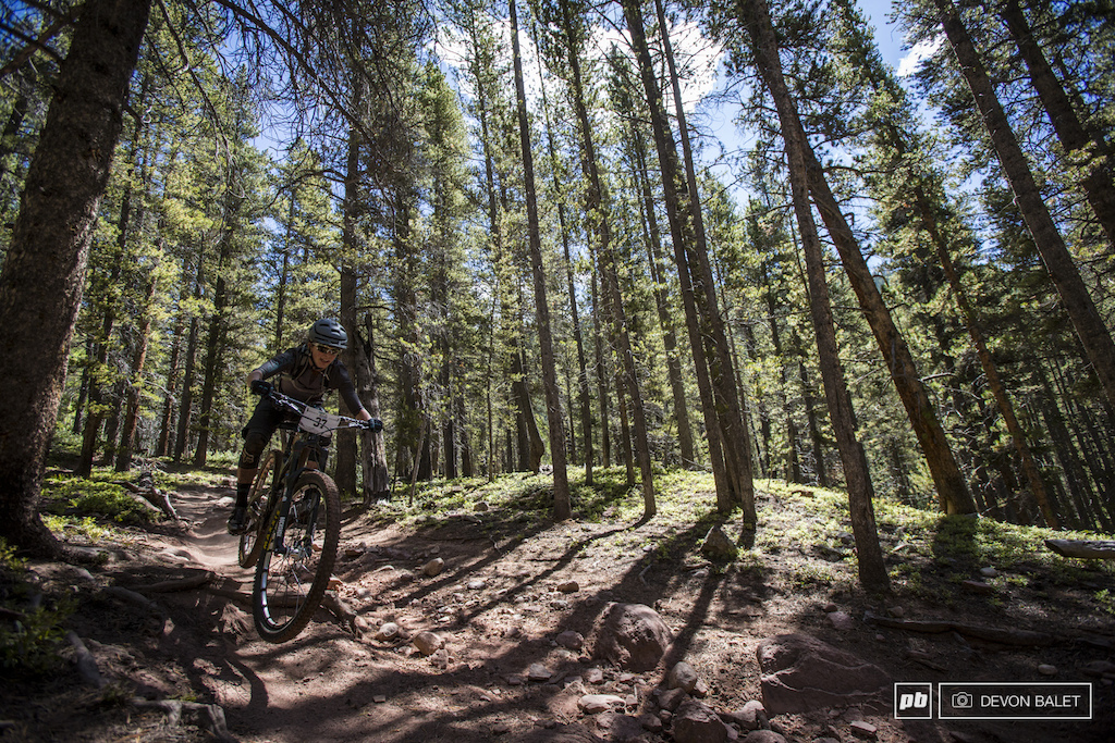 Sarah Rawley finds the smooth line through the rough on the lower section of trail 400.