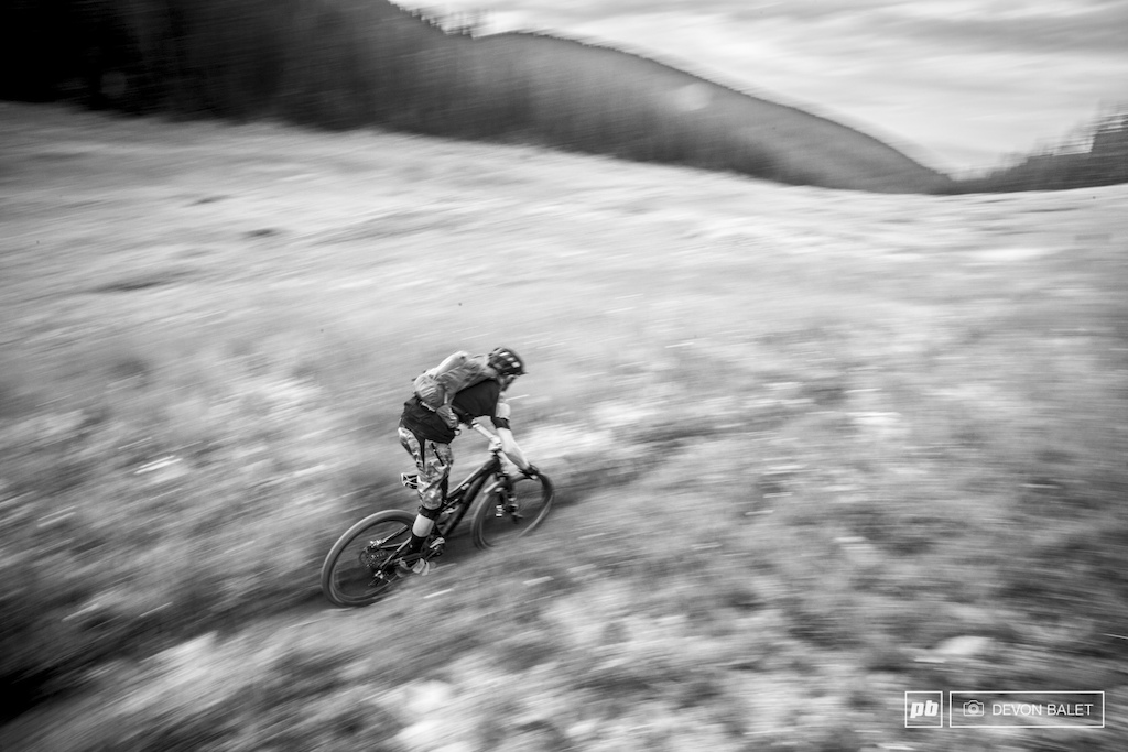 Taylor Lindeen blurs through the start of stage one of day two. Lindeen held a commanding lead in the Am Men 19-39 race.