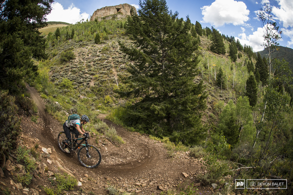No stranger to the BME or racing Sarah Rawley makes quick of a tight turn on Caves Trail on day three.