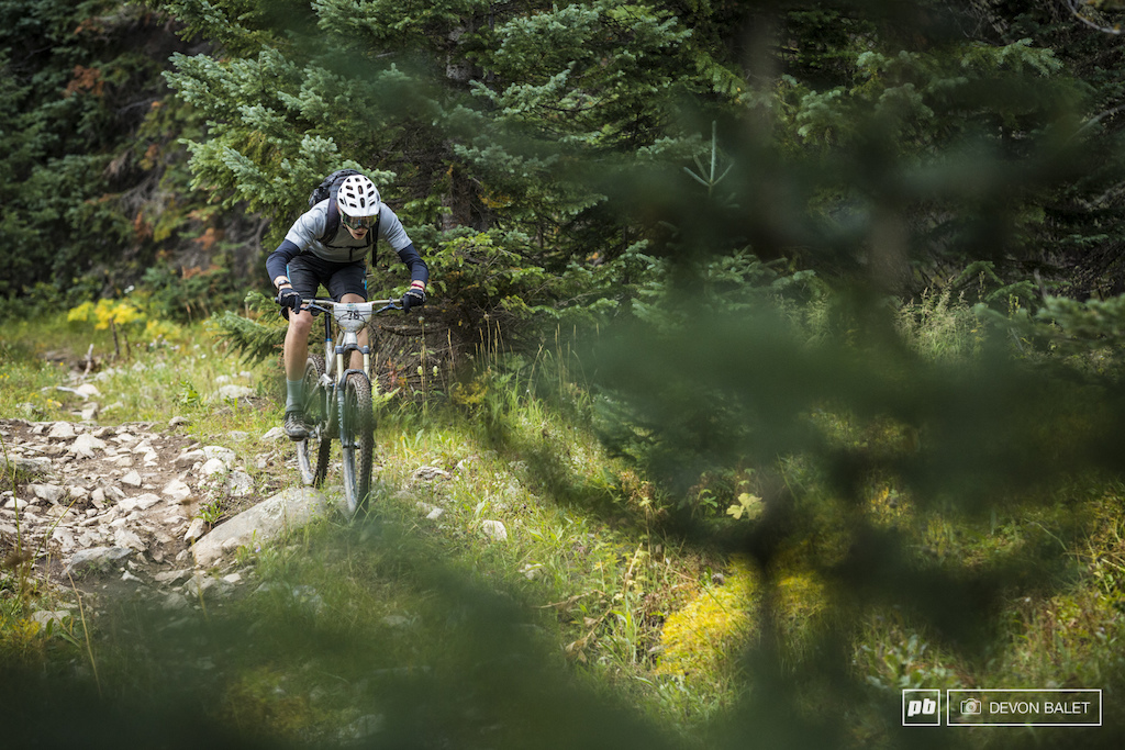 Theo Fellgett of Great Britain takes the high line through the rough on day four.