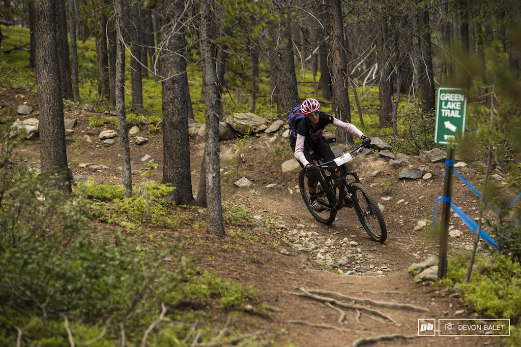Crested Butte local Janae Pritchett makes the fast right turn back onto single track after flying down the wide open fire road section on Green Lake Trail.