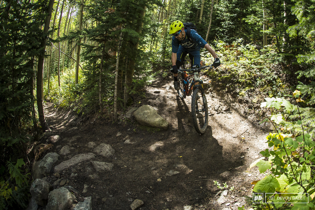 Ross Schnell making quick of yet another TIGHT switchback on Green Lake Trail.