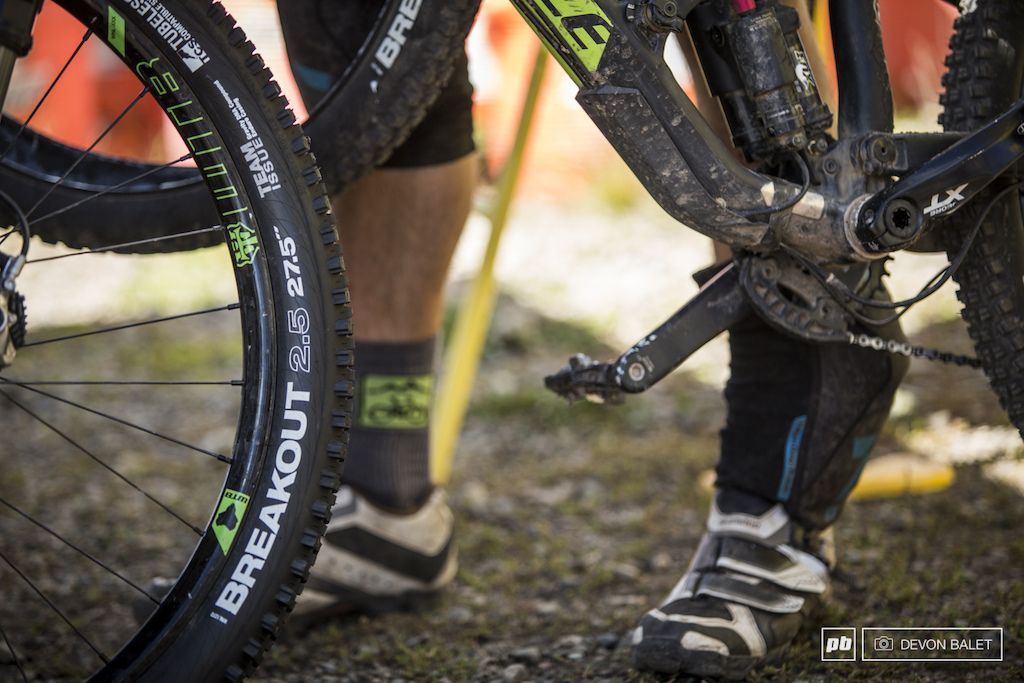 After the final back country day Marco Osborne was sure to put on fresh rubber for the final day of racing on Evolution Bike Park.