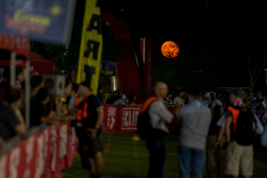 A huge golden moon rises over the start of the Elite womens race... nofilter