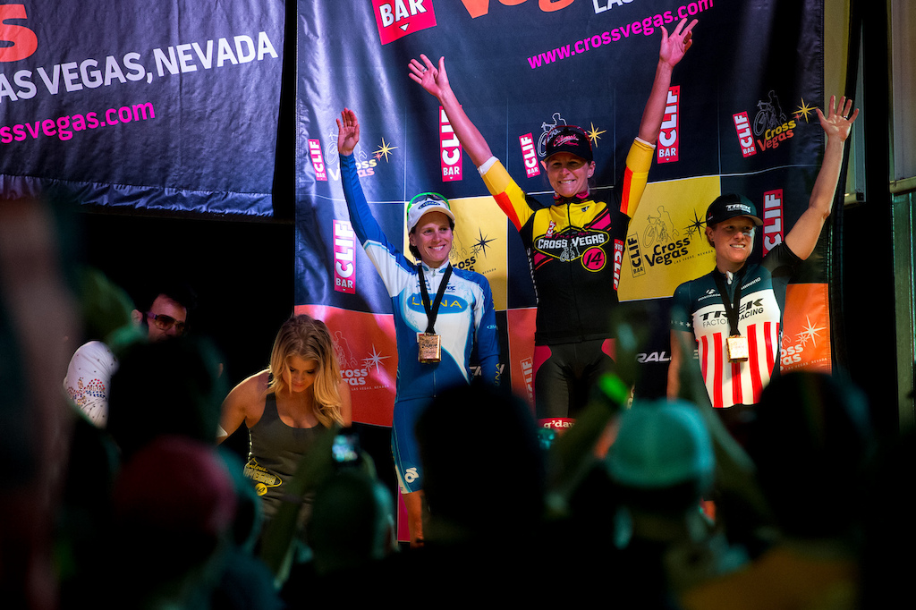 The womens podium from Cross Vegas 2014. Meredith Miller Katerina Nash and Katie Compton.