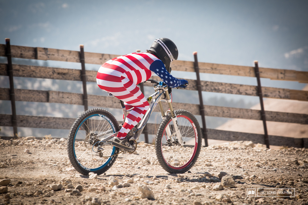 Some of the riders were showing their patriotism during the Kamizae DH race.
