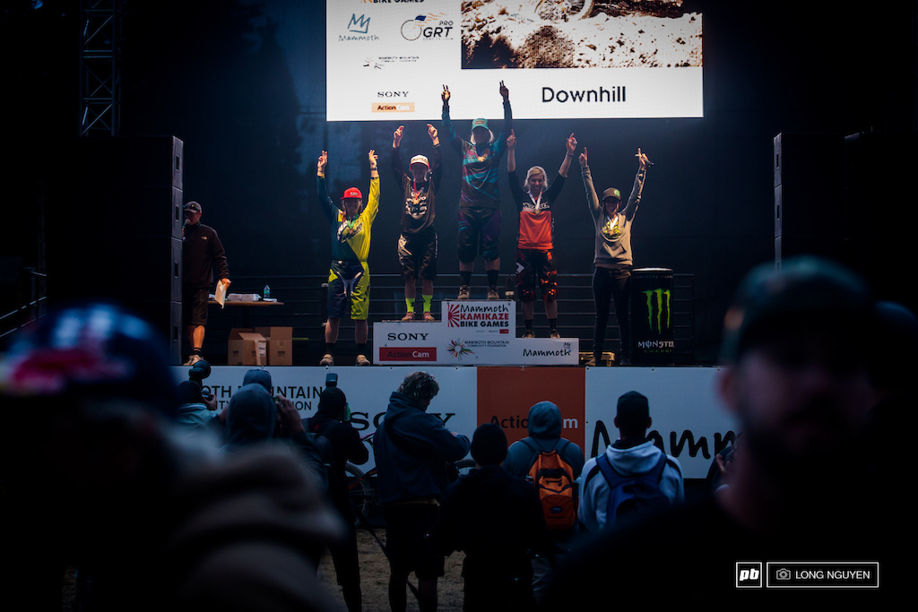 2014 Kamikaze DH Pro Women s podium. 1st Becky Gardner 2nd Alison Zimmer 3rd Rae Gandolf 4th Kim Godfrey 5th Katy Hanlon.