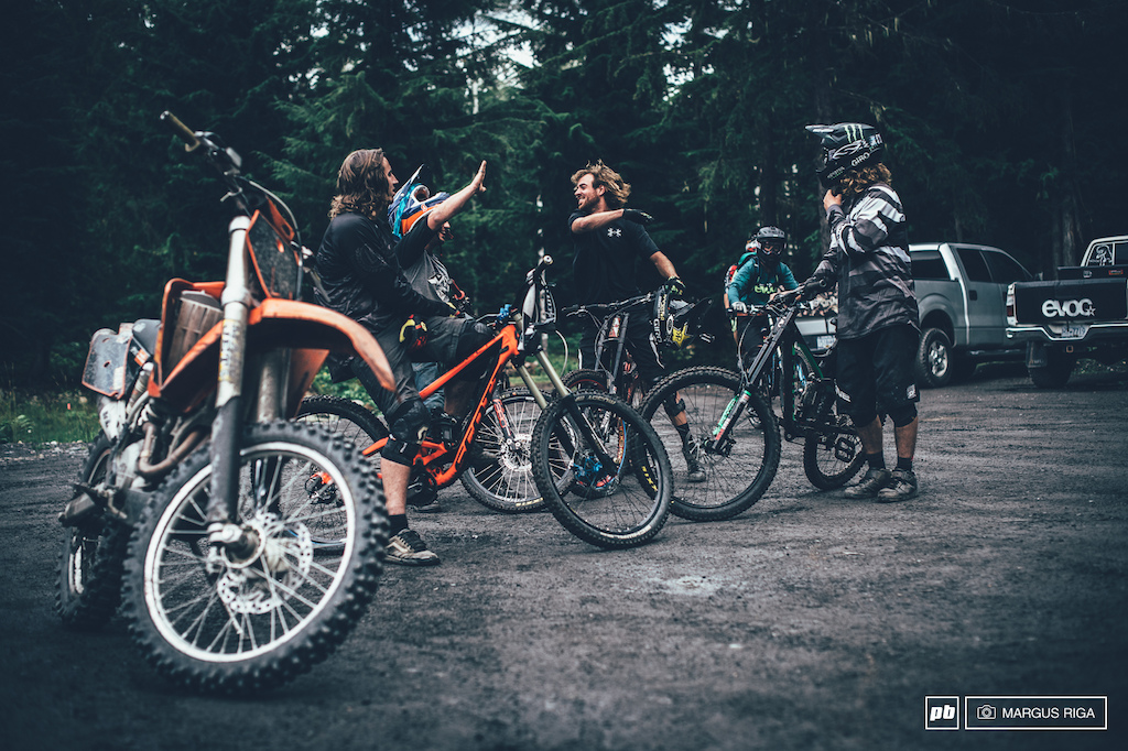 Involuntary high fives being pounded after pounding laps on Retallack s sick as f*ck trails.