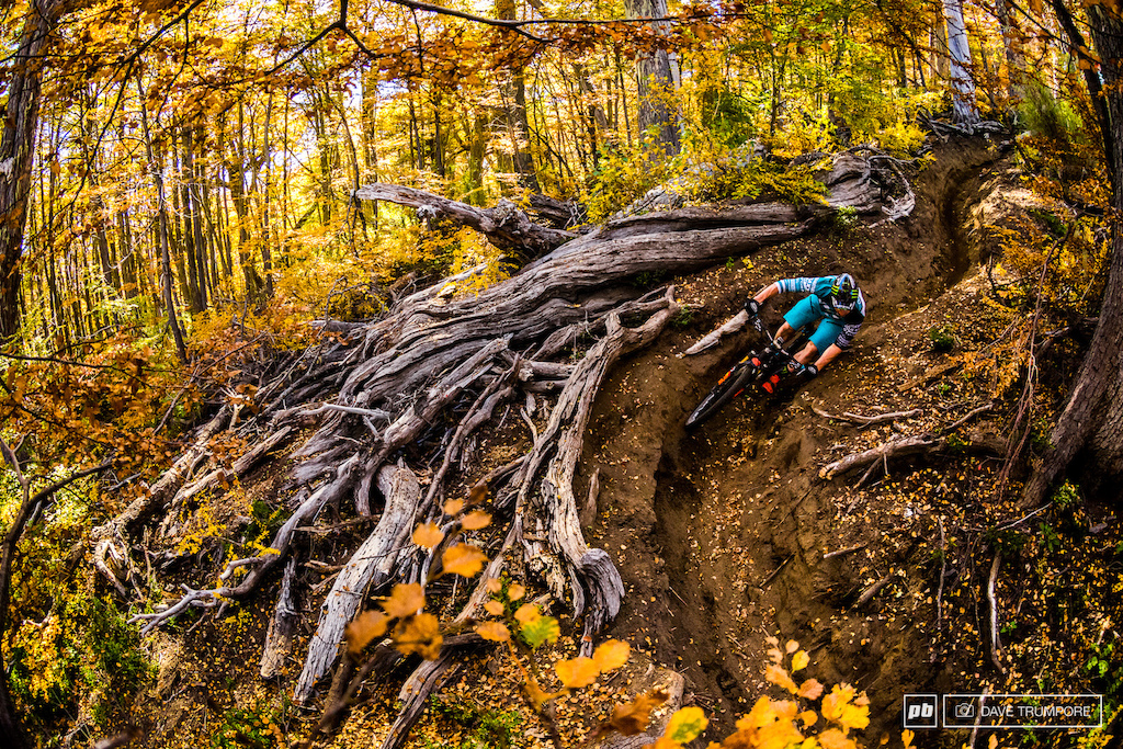 I ve taken a ton of photos over the past few months a countless number of which I am extremely proud of yet this photo of Jared Graves out for a training ride in Nevados De Chillan may be the one I would place at the top of the list. Not only is the photo beautiful so much so that you almost don t notice Jared bar dragging through the corner but the entire experience of this location the trail and the time of year is something I will never forget. Chillan at the height of fall with all the vibrant colors popping was simply breathtaking.