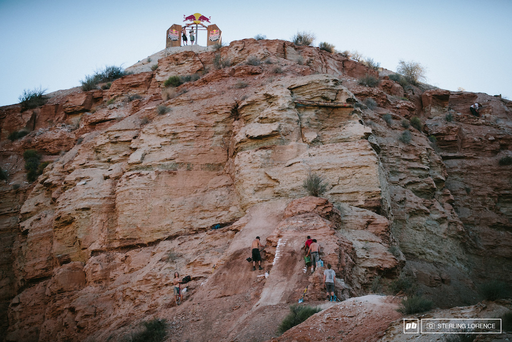 the gnar step downs at the top at 2014 RedBull Rampage in Virgin Utah.