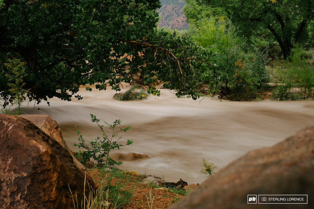 virgin river flooding on the rain out day at RedBull Rampage 2014.