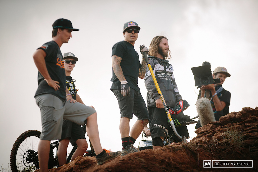 Andreu and Aggy strategizing at RedBull Rampage 2014.
