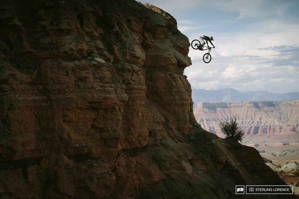 Bradon Semenuk s huge cliff drop at RedBull Rampage 2014.