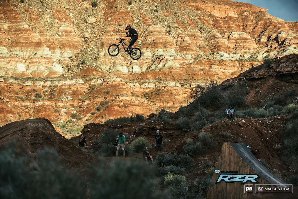 Kyle Strait pulling out the guns off the Razor jump.