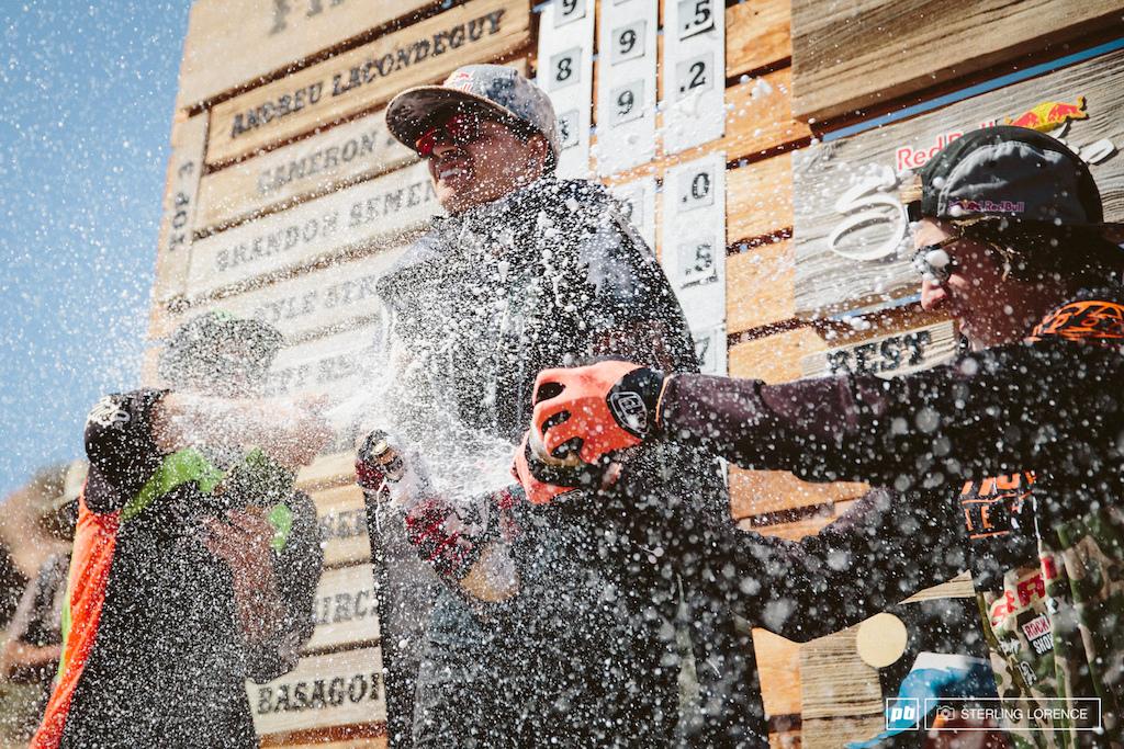 Zink Lacondeguy and Semenuk on the podium at RedBull Rampage 2014.