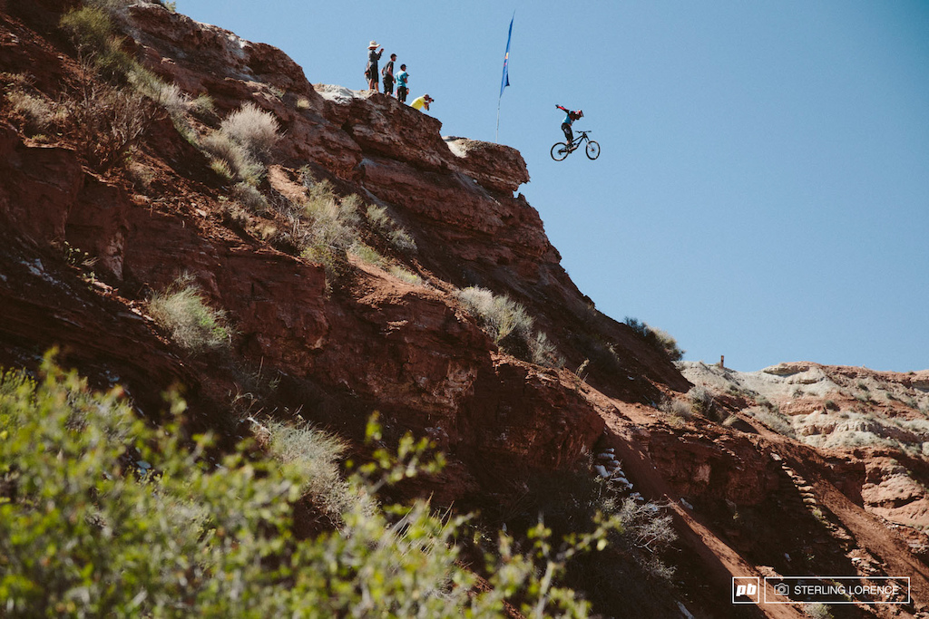 Kyle Strait's no hander drop at RedBull Rampage 2014.