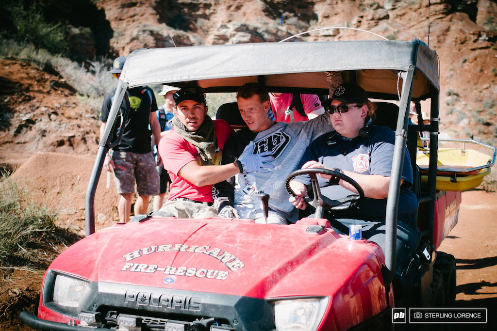 Tom VanSteenbergen banged up but ok after his front flip attempt at RedBull Rampage 2014.