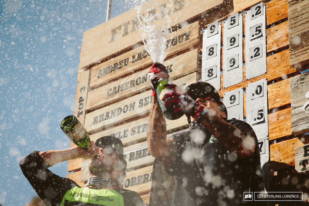 Zink Lacondeguy and Semenuk on the podium at RedBull Rampage 2014.