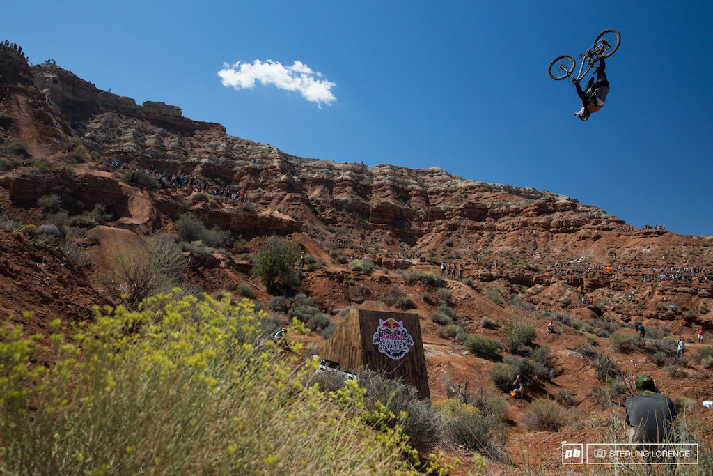 Semenuk flip can at RedBull Rampage 2014.