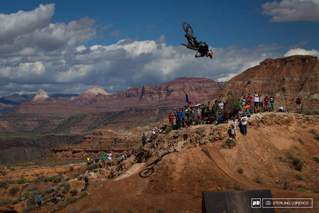 Andreu Lacondeguy in finals at RedBull Rampage 2014.