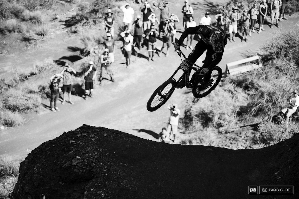 Brandon Semenuk pulling a nasty three drop.