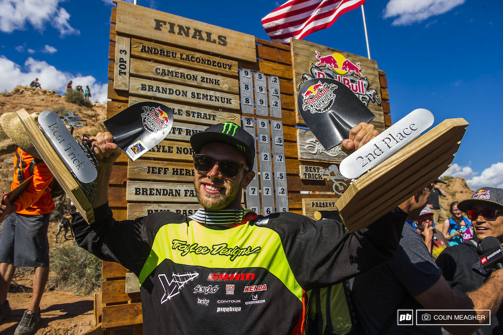 Second place but the 360 heard round the freeride world was nothing but insane. Cam Zink taking home second place and the best trick award. Mental