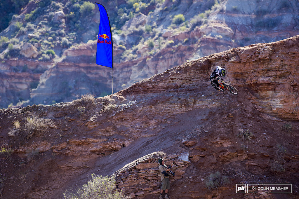 Brett Rheeder spinning 3 on the upper ridge