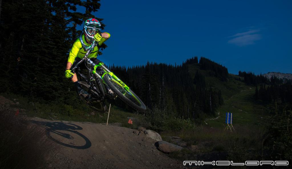 Bryson Martin Jr. getting the evening scrub at Whistler Mountain Bike Park