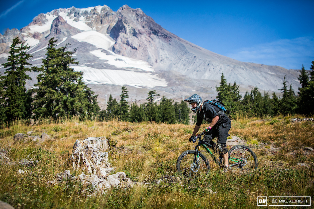 Michael Smeiser pedals in front of Mt Hood on the scenic stage 4.