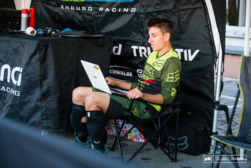A relaxed Damien Oton was checking his headcam films this morning taking one last look through his lines for the race.