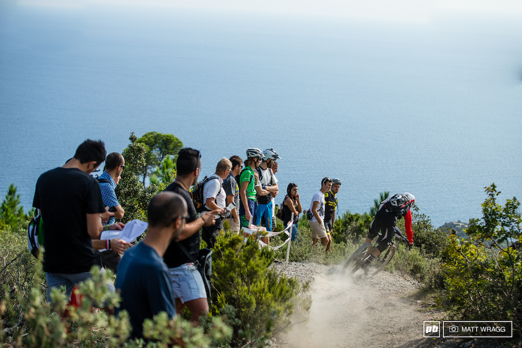 Here in Finale there is undoubtedly one of the biggest crowds in enduro a sport that is hard to spectate at the best of time. But the locals here aren t put off and stage four this afternoon was lined with several hundred fans who had hiked scootered and pedalled up to see the action.